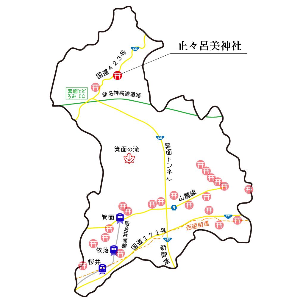 マップ止々呂美神社